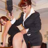 Packed and stacked therapist spanks her luscious patients