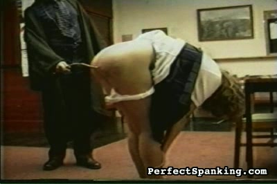 Schoolmasters have all the fun. The third phase of her punishment is the cane.  Down come the panties and smack goes the cane.  She must count and thank her robed master as he causes her voluminous suffering .
