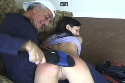 Naughty ass 7. This girl needs to be disciplined. The senior painter takes on the job. He pulls her over his knee and spanks her naughty bottom.