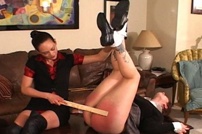 Redder and redder 80. Her girlfriend has a sensitive round ass, reddening very quick. It only gets redder when the paddles are used, more bare handed spanking, and her favorite cane.