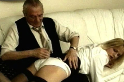 Old fashioned over the knee 46. Not only is he not leaving, but he wants to make sure his step daughter understands he's not going anywhere. He pulls her over his knee, like he used to when she was younger, and spanks her with his bare hand.